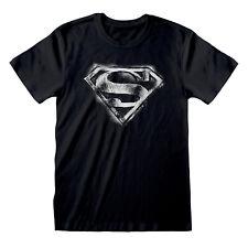 Official Superman B&W Distressed Logo T-Shirt DC Comics Man Of Steel S M L XL XX