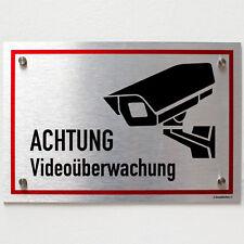 Schild Videoüberwacht 30x20 cm Videoüberwachung Warnschild silber Aluverbund