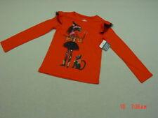 NWT Girls Halloween Orange Pullover Shirt Glitter Witch Cat Scary fashion kitty