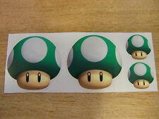 Super Mario Mushroom stickers - x4 - GREEN decal set