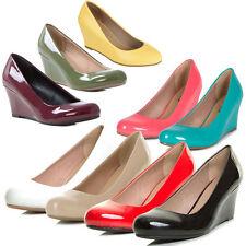 DORIS Womens Closed Round Toe Slide Pump Slip On Shoes Sandal Med Low Wedge Heel