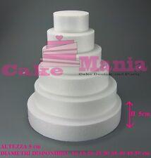 FORME IN POLISTIROLO BASE TONDA VARIE MISURE PER TORTE Altezza 5 cm Cake Design
