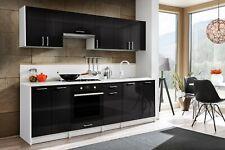 Küchenzeile Einbauküche Eco 240 Cm Hochglanz O. Holzdekor, Mit  Geschirrtrockner