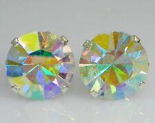 (2mm - 10mm) Crystal AB Sterling Silver Earrings Using Swarovski Elements