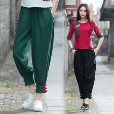 Women Linen Harem Pants Casual Vintage Baggy Lantern Elastic Summer Long Trouser