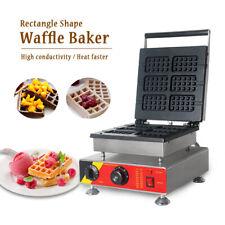 6 Mould Plates Rectangle Shape Waffle Baker Non-stick Teflon Coated Ce Ss 1500 W