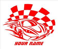Nombre personalizado de texto en carrera coche Decal Sticker De Vinilo El Arte De Pared Chicos habitación R2