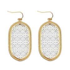 Two Tone Filigree Hollow Magnolia Dangle Drop Statement Earrings for Women New