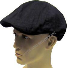 NUOVO Nero Vintage Berretto Piatto Cappello pre-formed LEGGERO COTONE Baker Boy CAPPELLO da strillone