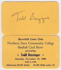 1988 Haverhill Lions Club Baseball Card Show Todd Benzinger Tickets