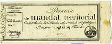 MANDAT TERRITORIAL BON POUR 25 FRANCS 28 VENTOSE AN 4