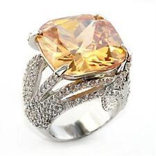 80607 CHAMPAGNE CUSHION CUT BIG RING SIMULATED DIAMOND  WOMENS GLAMOROUS BROWN