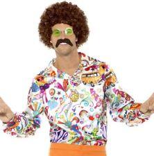 uomo anni '60 1960s 60 70 '70 Moda Abito Camicia fantasia hippy Nuovo Da Smiffys