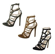 S367 señoras GLADIADOR Peep Toe Jaula cortado de Salón Zapatos de Taco Alto Sandalia-UK 3 - 8