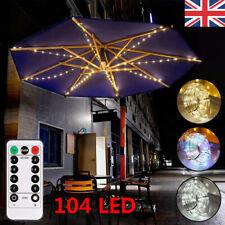 Umbrella Lights 104 LED Patio Parasol Outdoor Garden Lighting 8 Strut Christmas