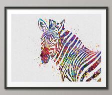 Zebra Watercolor Art Print Painting Wedding Gift idea Wall Art Giclee Wall Decor