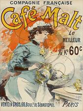 PLAQUE ALU DECO AFFICHE COMPAGNIE CAFE MALT SEBASTOPOL PARIS COFFEE CAFETIERE