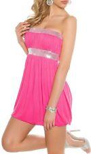 Miss Sexy Donna Bandeau babydoll mini abito paillettes S 34 M 36 L 38 ROSA NUOVO