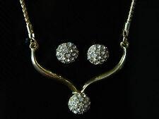 Shamballa Style Set bijoux or & BLANC CRISTAL CLOUS & collier S149