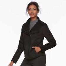 NEW Chaps Womens Faux Suede Leather & Knit Jacket Coat Black Tie S L XL $90 NWT
