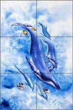 Whale Tile Mural Susan Libby Ceramic Undersea Art Mural SLA017