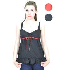 Red Bow ruffle froufrous pin up porteur-top/shirt rockabilly