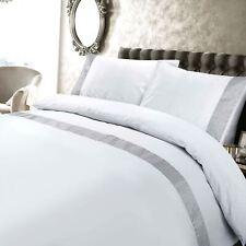 Petra Embroidered 200 Thread 100%Cotton Minimalist White Duvet Cover Set
