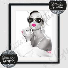Popular Girls Night in Audrey Hepburn Fashion Lipgloss Print white bgrd
