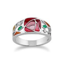Gemondo 925 Sterling Silver 0.03ct White Topaz Rennie Mackintosh Ring