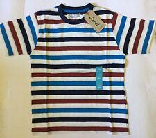 Chicos Crema/Azul Marino/Azul/Marrón a Rayas Camiseta Con Cuello Redondo Talla 7-8 años
