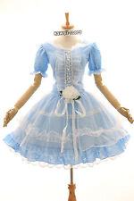 m-3294 S/ M/L /XL/XXL stretch bleu blue robe lolita gothique cosplay costume