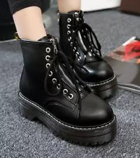 Punk Women Lace Up Low Heels Ankle Boots Platform Retro Combat Riding Party Shoe
