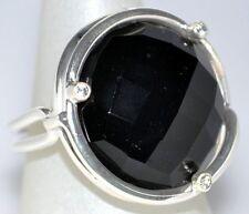 Big Black Onyx 925 Sterling SILVER Ring Round Facet cut Gem Size 7, O upto 10, U