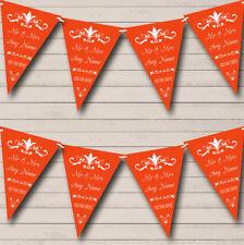 Regal Or Burnt Orange Personalised Wedding Anniversary Party Bunting Banner