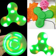 LED Fidget Finger Spinner Hand Toy Bluetooth Speaker, USB Charging - Green