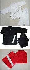 Karate/Taekwondo White/Black/Red Gi Cotton/Poly 8-OZ Adult/Kids with White Belt.