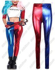 NUOVO Donna squadra suicida HARLEY QUINN Costume Metallico Lucido Look Pantaloni Leggings