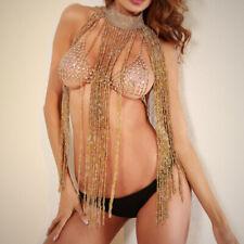 Woman Bling Sequin Necklace Metal Crystal Tassel Fringe Dress Long Body Jewelry