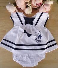 3Pc Baby Traditional Embroidery White Navy Dress Pants Headband Set 0-3-6-9