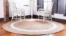 Braided Beige Natural Hand Woven Reversible Round Jute Rug Indoor Floor Carpet