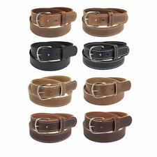 """Buffalo Leather Stitched Belt_1 1/4""""_Nickel Finish Buckle_Amish Handmade"""