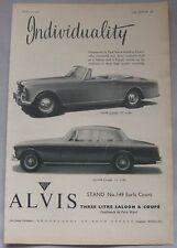 1958 Alvis 3-litre Saloon & Coupe Original advert No.1