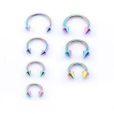 RAINBOW Horseshoe Bar, Lip Nose Septum Tragus Ear Ring Various Sizes WITH CONES