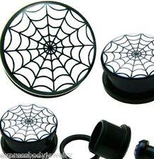 Pair Acrylic Black Screw Tunnel Stash Ear-Plugs Blk & White Spider Web Gauges