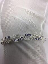 Vintage Genuine Blue Sapphire Natural Gemstones 925 Sterling Silver Bracelet