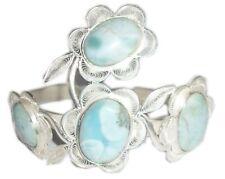 Eternal Spring Sterling Silver Larimar Paraguayan filigree cuff Flower bracelet