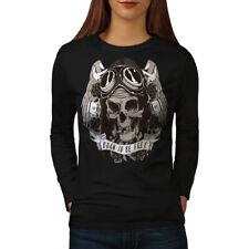 Born To Skull Free Biker Women Long Sleeve T-shirt NEW | Wellcoda