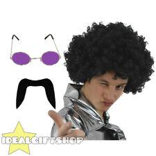 Années 70 homme set noir afro perruque moustache violet lunettes disco fancy dress années 1970