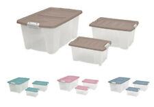 3er-Set Stapelbox + Deckel Aufbewahrungsbox Rollenbox Spielzeugkiste Kunststoff