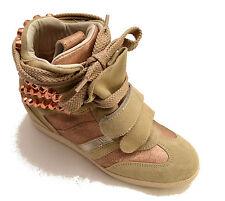 Serafini scarpe sneakers alte pelle shoes Donna Borchie Zeppa vintage Women 2764